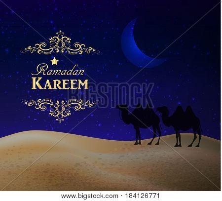 Crescent moon and night desert. Ramadan kareem congratulation card.