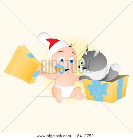 Baby Opens Box With Small Cat Inside