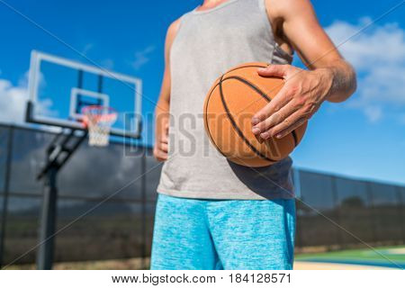 Basketball player man holding ball at court net
