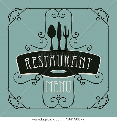 vector template menu for restaurant with Cutlery and curlicues in Baroque style on the emerald background