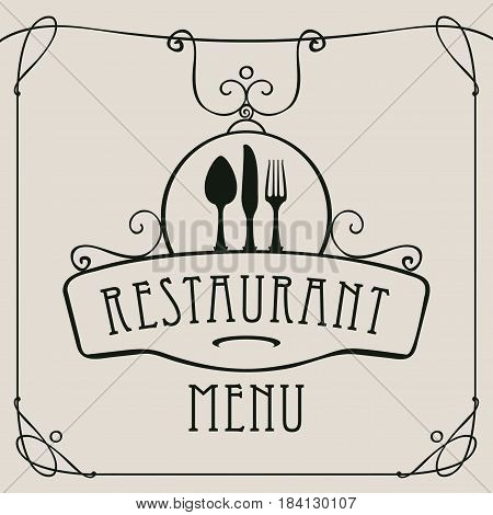 vector template menu for restaurant with cutlery and curlicues in baroque style on a light background