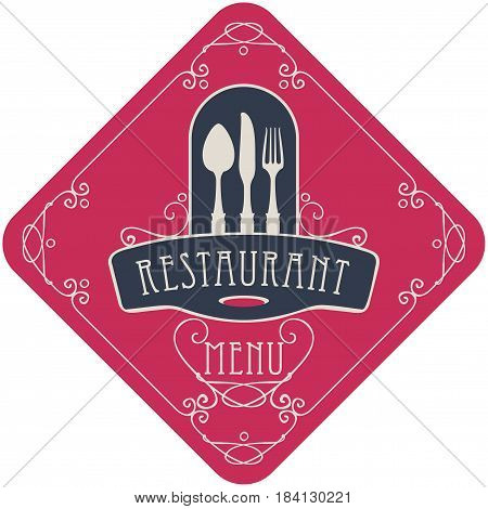 vector template menu for restaurant with Cutlery and curlicues in Baroque style on the red background in the shape of a rhombus