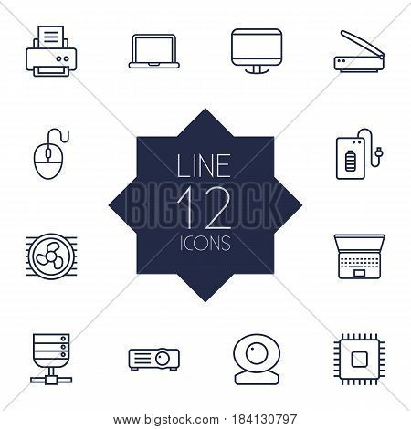 Set Of 12 Notebook Outline Icons Set.Collection Of Cooler, Powerbank, Server And Other Elements.
