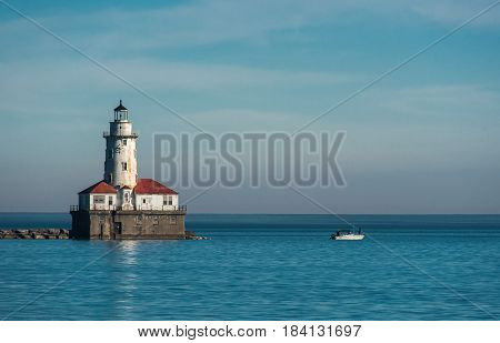 White Lighthouse On Michigan Lake