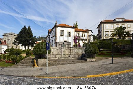 General view of the city council square in Ponte de Lima Portugal