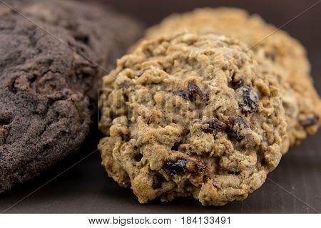 Close Up Of Oatmeal Raisin Cookies