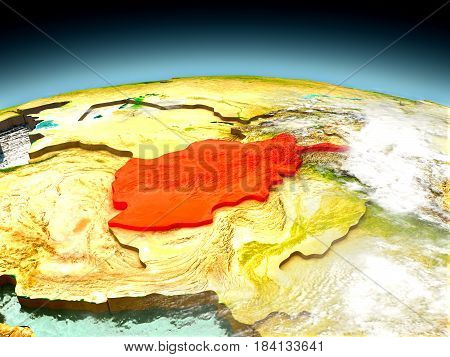 Afghanistan On Model Of Earth