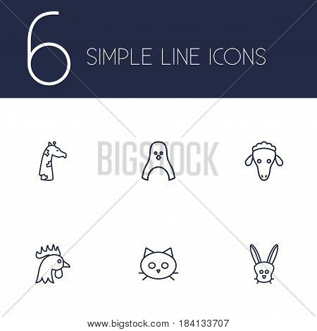 Set Of 6 Brute Outline Icons Set.Collection Of Cat, Penguin, Giraffe And Other Elements.