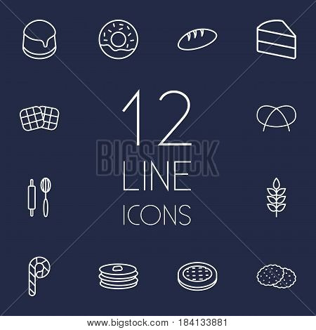 Set Of 12 Stove Outline Icons Set.Collection Of Bread, Wheat, Pancakes And Other Elements.