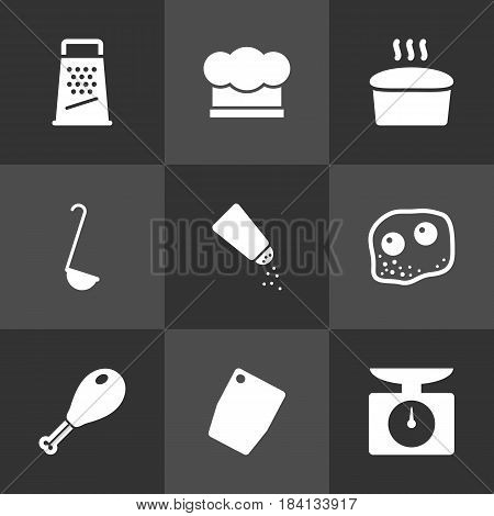 Set Of 9 Cooking Icons Set.Collection Of Loaf, Weighing Machine, Scoop And Other Elements.
