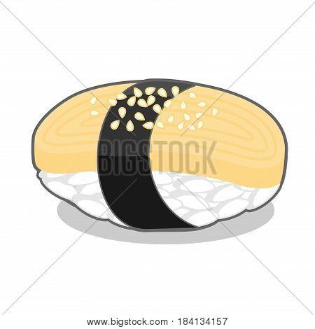 Tasty nigiri tamago sushi with japanese egg omelette, sesame and seaweed nori ribbon. Vector illustration isolated on a white background.