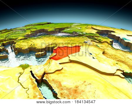 Syria On Model Of Earth