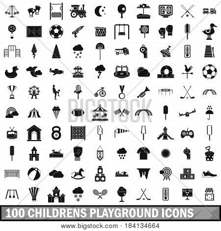 100 childrens playground icons set in simple style for any design vector illustration