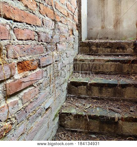 Upstairs and a brick wall. Steps. Stair