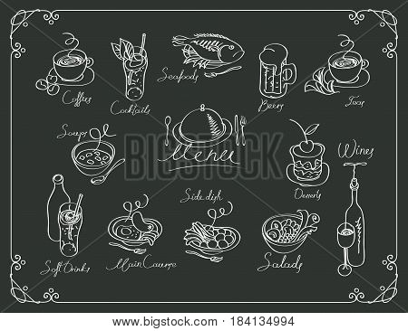 vector menu with sketches different dishes and handwriting inscriptions on black background. Drawing chalk on a wooden board