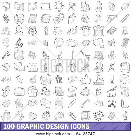 100 graphic design icons set in outline style for any design vector illustration