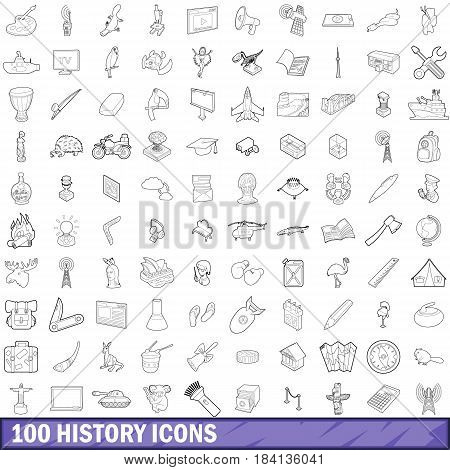 100 history icons set in outline style for any design vector illustration