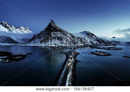 Olstind Mount and bridge, aerial view. Lofoten islands, Norway
