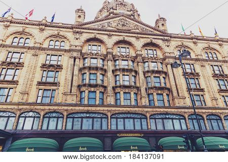 Harrods Department Store Facade In Central London