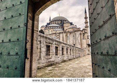 The Suleymaniye Mosque gate entrance, Istanbul, Turkey.