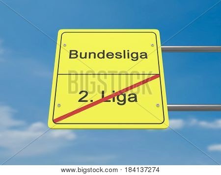 Sport Promotion Concept Road Sign: Second Division To First Division In German Language 3d illustration