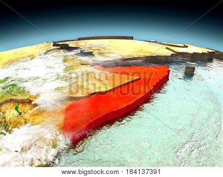 Somalia On Model Of Earth