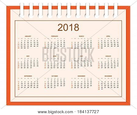 Business english calendar for wall on 2018 year. Week starts on Sunday. eps 10