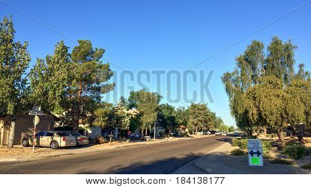 PHOENIX US - APRIL 30 2017: Early morning hour at weekend Yard Sale in residential community Phoenix Arizona.