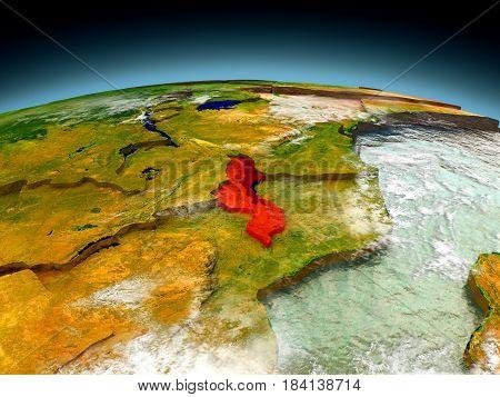 Malawi On Model Of Earth