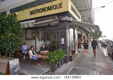 HONG KONG - OCTOBER 25, 2015: Bistronomique in Kennedy Town. Kennedy Town is at the western end of Sai Wan on Hong Kong Island