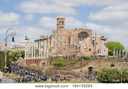 ROME, ITALY - APRIL 23:Tourists visit Rome central archaeological area with ancient Temple of Venus and Roma ruins  APRIL 23, 2017 in Rome, Italy
