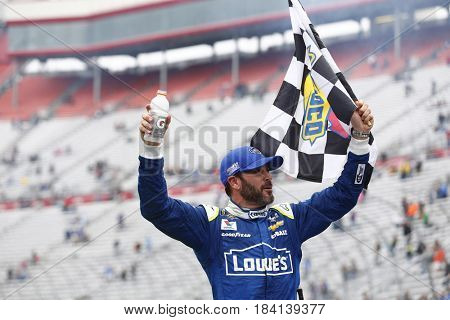 April 24, 2017 - Bristol, Tennessee , USA: Jimmie Johnson (48) takes the checkered flag and wins the Food City 500 at Bristol Motor Speedway in Bristol, Tennessee .