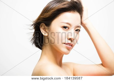 side view of young Woman with hair motion