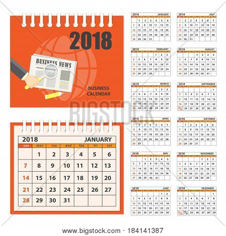 Business english calendar for desk on 2018 year. Set of the 12-month isolated pages with image on the cover. Week starts on Sunday. eps 10