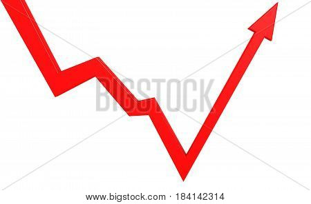 Isolated Bounce Back Red Arrow