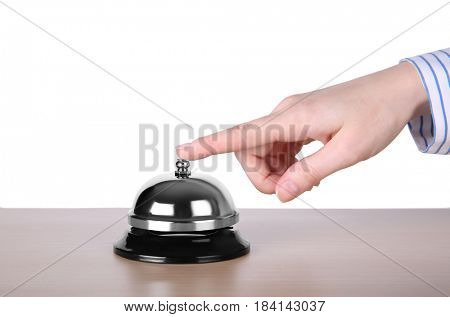 Woman ringing service bell isolated on white