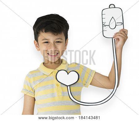 Little Boy Holding Blood Bag Transfusion Paper