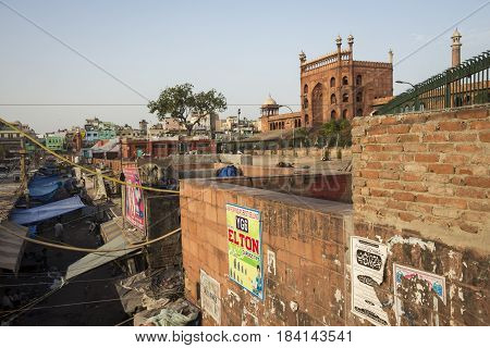 DELHI INDIA-JUN 10 : scene of marketplace in front of jama masjid in old delhi Jama Masjid is largest muslim mosque of delhi on june 10 2015 india