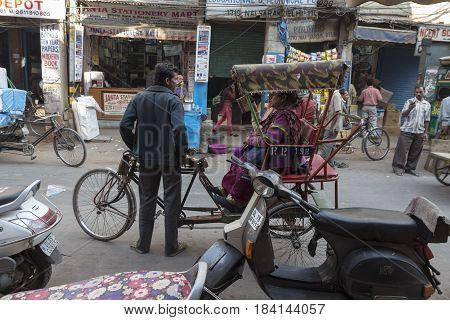 DELHI INDIA - DEC 10 : rickshaw taxi service at chawri bazar in old delhi. old delhi is aged and famous place of delhi on december 10 2014 india