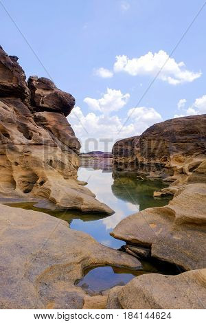 Samphanbok, A large rocky rapids in the Mekong River were eroded by the tides. It is seen in the dry season of every year and is a famous tourist attractions of Ubon Ratchathani province, Thailand.