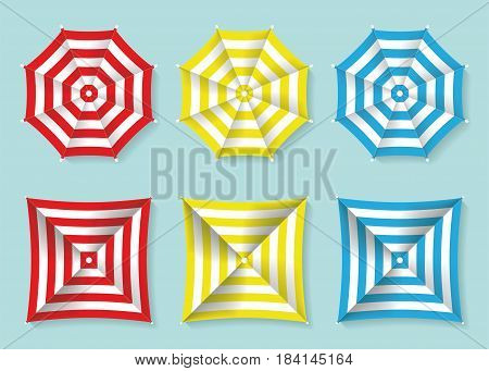 Set of red, yellow and blue beach umbrellas top view. Square and circle sun umbrellas. Vector illustration