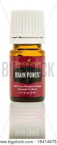 Winneconne WI - 25 April 2017: A bottle of Brain Power Young Living oil on an isolated background.