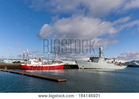 REYKJAVIK ICELAND - APRIL 15 2017: HDMS Triton in the Reykjavik's harbor. The Triton is a Thetis-class frigate belonging to the Royal Danish Navy.