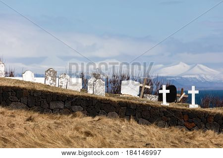 Hellnar Cemetery In Iceland
