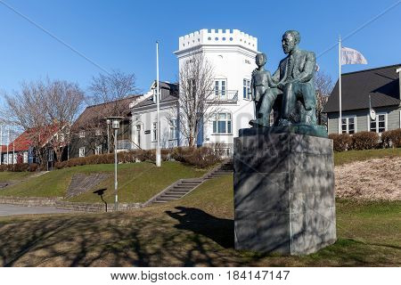 Statue Of Pastor Fridrik Fridriksson In Reykjavik, Iceland