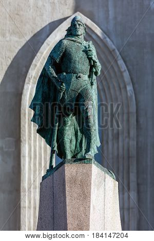 Statue Of Leif Eriksson In Reykjavik, Iceland .