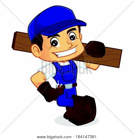 Handyman Leaning On Empty Space Carrying Wood Plank