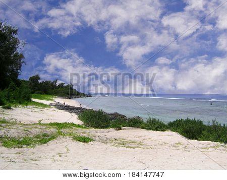 Beachline of Star Sands, Tinian, Northern Mariana Islands  Chulu Beach, popularly known as Star Sands Beach is known for its star shaped sand.