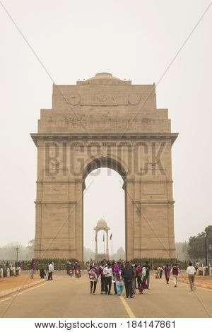DELHI INDIA - dec 14 : mist and winter scene of india gate in rajpath india gate is war memorial of first world war on december 14 2014 india