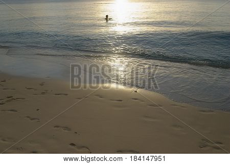 Footprints in the sand, Tinian Footsteps in the soft sands of Tachogna Beach, Tinian